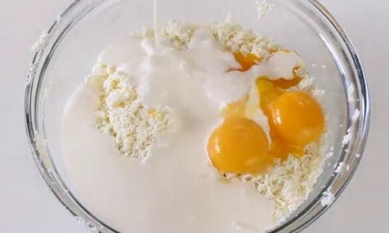 творог, сливки, яйца